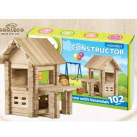 Детский деревянный конструктор домик