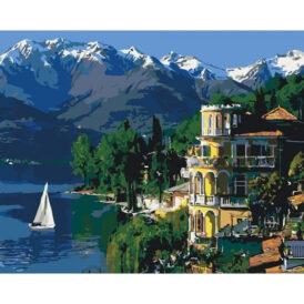 картина с видом Италии, моря и парусника