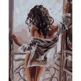 картина с силуэтом девушки на балконе
