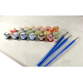 комплектация набора для рисования по номерам Идейка белочка ест орешек на ветке дерева на синем фоне