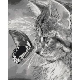 Набор для рисования по номерам Идейка котёнок с бабочкой на носике (1)