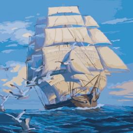 Набор для рисования по номерам корабль с белыми парусами в море