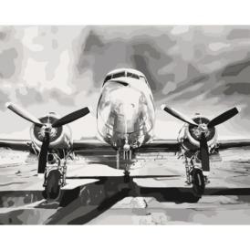 Набор для рисования по номерам самолёт спереди в чёрно-белых тонах