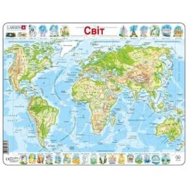 Пазл для детей Larsen Карта мира (80 деталей)